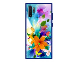 Husa Premium Spate Upzz Pro Anti Shock Compatibila Cu Samsung Galaxy Note 10+ Plus, Model Painted Butterflies 2, Rama Albastra