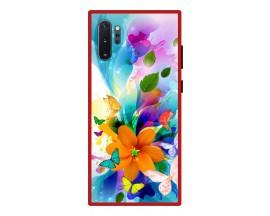 Husa Premium Spate Upzz Pro Anti Shock Compatibila Cu Samsung Galaxy Note 10+ Plus, Model Painted Butterflies 2, Rama Rosie