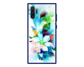 Husa Premium Spate Upzz Pro Anti Shock Compatibila Cu Samsung Galaxy Note 10+ Plus, Model Painted Butterflies, Rama Albastra
