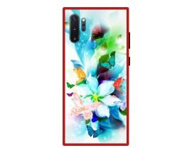 Husa Premium Spate Upzz Pro Anti Shock Compatibila Cu Samsung Galaxy Note 10+ Plus, Model Painted Butterflies, Rama Rosie