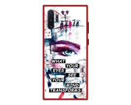 Husa Premium Spate Upzz Pro Anti Shock Compatibila Cu Samsung Galaxy Note 10+ Plus, Model Your Eyes, Rama Rosie