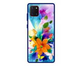 Husa Premium Spate Upzz Pro Anti Shock Compatibila Cu Samsung Galaxy Note 10 Lite, Model Painted Butterflies 2, Rama Albastra