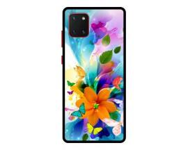 Husa Premium Spate Upzz Pro Anti Shock Compatibila Cu Samsung Galaxy Note 10 Lite, Model Painted Butterflies 2, Rama Neagra