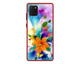 Husa Premium Spate Upzz Pro Anti Shock Compatibila Cu Samsung Galaxy Note 10 Lite, Model Painted Butterflies 2, Rama Rosie