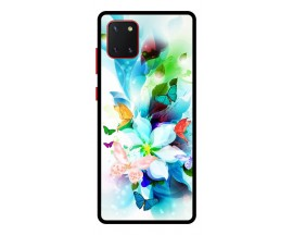 Husa Premium Spate Upzz Pro Anti Shock Compatibila Cu Samsung Galaxy Note 10 Lite, Model Painted Butterflies, Rama Neagra
