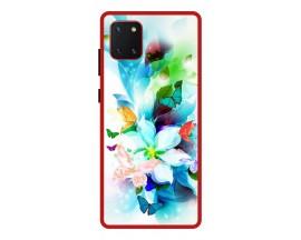 Husa Premium Spate Upzz Pro Anti Shock Compatibila Cu Samsung Galaxy Note 10 Lite, Model Painted Butterflies, Rama Rosie