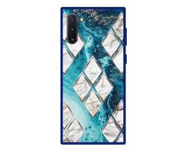 Husa Premium Spate Upzz Pro Anti Shock Compatibila Cu Samsung Galaxy Note 10, Model Marble 1, Rama Albastra