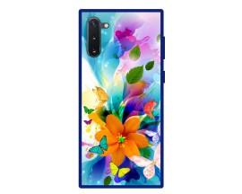 Husa Premium Spate Upzz Pro Anti Shock Compatibila Cu Samsung Galaxy Note 10, Model Painted Butterflies 2, Rama Albastra
