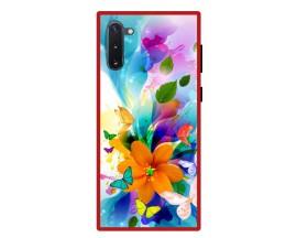 Husa Premium Spate Upzz Pro Anti Shock Compatibila Cu Samsung Galaxy Note 10, Model Painted Butterflies 2, Rama Rosie