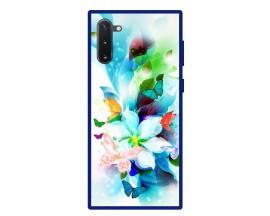Husa Premium Spate Upzz Pro Anti Shock Compatibila Cu Samsung Galaxy Note 10, Model Painted Butterflies, Rama Albastra