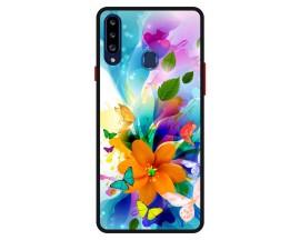 Husa Premium Spate Upzz Pro Anti Shock Compatibila Cu Samsung Galaxy A20s, Model Painted Butterflies 2, Rama Neagra