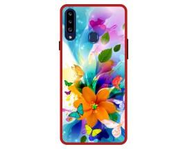 Husa Premium Spate Upzz Pro Anti Shock Compatibila Cu Samsung Galaxy A20s, Model Painted Butterflies 2, Rama Rosie