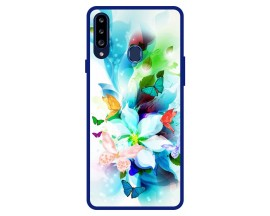 Husa Premium Spate Upzz Pro Anti Shock Compatibila Cu Samsung Galaxy A20s, Model Painted Butterflies, Rama Albastra