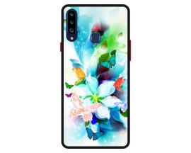 Husa Premium Spate Upzz Pro Anti Shock Compatibila Cu Samsung Galaxy A20s, Model Painted Butterflies, Rama Neagra