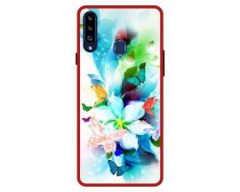 Husa Premium Spate Upzz Pro Anti Shock Compatibila Cu Samsung Galaxy A20s, Model Painted Butterflies, Rama Rosie