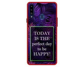 Husa Premium Spate Upzz Pro Anti Shock Compatibila Cu Samsung Galaxy A20s, Model Perfect Day, Rama Rosie