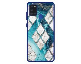 Husa Premium Spate Upzz Pro Anti Shock Compatibila Cu Samsung Galaxy A21s, Model Marble 1, Rama Albastra