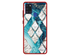 Husa Premium Spate Upzz Pro Anti Shock Compatibila Cu Samsung Galaxy A21s, Model Marble 1, Rama Rosie