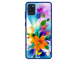 Husa Premium Spate Upzz Pro Anti Shock Compatibila Cu Samsung Galaxy A21s, Model Painted Butterflies 2, Rama Albastra