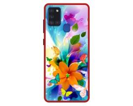 Husa Premium Spate Upzz Pro Anti Shock Compatibila Cu Samsung Galaxy A21s, Model Painted Butterflies 2, Rama Rosie