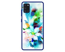 Husa Premium Spate Upzz Pro Anti Shock Compatibila Cu Samsung Galaxy A21s, Model Painted Butterflies, Rama Albastra