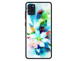 Husa Premium Spate Upzz Pro Anti Shock Compatibila Cu Samsung Galaxy A21s, Model Painted Butterflies, Rama Neagra