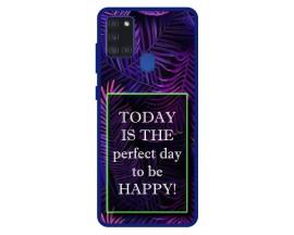 Husa Premium Spate Upzz Pro Anti Shock Compatibila Cu Samsung Galaxy A21s, Model Perfect Day, Rama Albastra