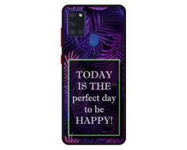 Husa Premium Spate Upzz Pro Anti Shock Compatibila Cu Samsung Galaxy A21s, Model Perfect Day, Rama Neagra