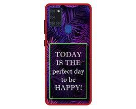 Husa Premium Spate Upzz Pro Anti Shock Compatibila Cu Samsung Galaxy A21s, Model Perfect Day, Rama Rosie