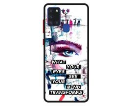 Husa Premium Spate Upzz Pro Anti Shock Compatibila Cu Samsung Galaxy A21s, Model Your Eyes, Rama Neagra