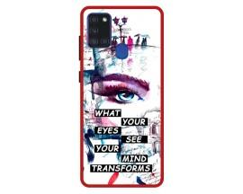 Husa Premium Spate Upzz Pro Anti Shock Compatibila Cu Samsung Galaxy A21s, Model Your Eyes, Rama Rosie