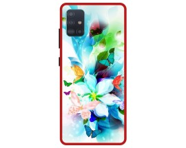 Husa Premium Spate Upzz Pro Anti Shock Compatibila Cu Samsung Galaxy A71 5G, Model Painted Butterflies, Rama Rosie