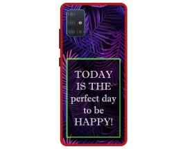 Husa Premium Spate Upzz Pro Anti Shock Compatibila Cu Samsung Galaxy A71 5G, Model Perfect Day, Rama Rosie