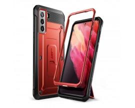 Husa Premium Supcase Unicorn Compatibila Cu Samsung Galaxy S21, Rosu Metalic