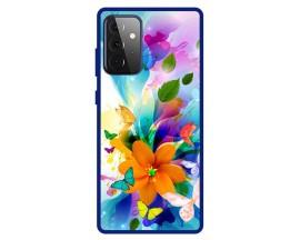 Husa Premium Spate Upzz Pro Anti Shock Compatibila Cu Samsung Galaxy A72 5G, Model Painted Butterflies 2, Rama Albastra