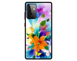 Husa Premium Spate Upzz Pro Anti Shock Compatibila Cu Samsung Galaxy A72 5G, Model Painted Butterflies 2, Rama Neagra