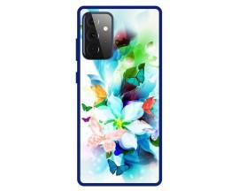 Husa Premium Spate Upzz Pro Anti Shock Compatibila Cu Samsung Galaxy A72 5G, Model Painted Butterflies, Rama Albastra