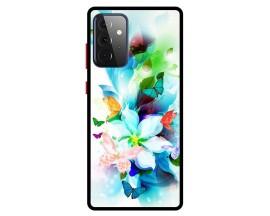 Husa Premium Spate Upzz Pro Anti Shock Compatibila Cu Samsung Galaxy A72 5G, Model Painted Butterflies, Rama Neagra