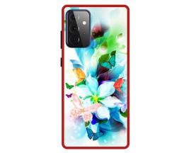 Husa Premium Spate Upzz Pro Anti Shock Compatibila Cu Samsung Galaxy A72 5G, Model Painted Butterflies, Rama Rosie