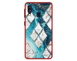 Husa Premium Spate Upzz Pro Anti Shock Compatibila Cu Samsung Galaxy A40, Model Marble 1, Rama Rosie