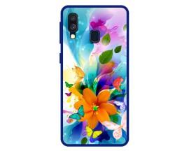Husa Premium Spate Upzz Pro Anti Shock Compatibila Cu Samsung Galaxy A40, Model Painted Butterflies 2, Rama Albastra