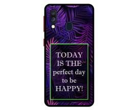 Husa Premium Spate Upzz Pro Anti Shock Compatibila Cu Samsung Galaxy A40, Model Perfect Day, Rama Neagra