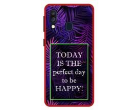 Husa Premium Spate Upzz Pro Anti Shock Compatibila Cu Samsung Galaxy A40, Model Perfect Day, Rama Rosie