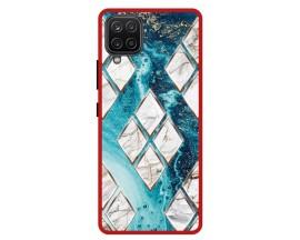 Husa Premium Spate Upzz Pro Anti Shock Compatibila Cu Samsung Galaxy A42 5G, Model Marble 1, Rama Rosie