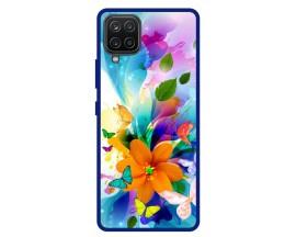 Husa Premium Spate Upzz Pro Anti Shock Compatibila Cu Samsung Galaxy A42 5G, Model Painted Butterflies 2, Rama Albastra