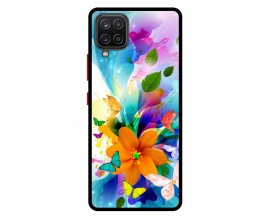 Husa Premium Spate Upzz Pro Anti Shock Compatibila Cu Samsung Galaxy A42 5G, Model Painted Butterflies 2, Rama Neagra