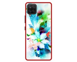 Husa Premium Spate Upzz Pro Anti Shock Compatibila Cu Samsung Galaxy A42 5G, Model Painted Butterflies, Rama Rosie