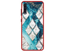 Husa Premium Spate Upzz Pro Anti Shock Compatibila Cu Samsung Galaxy A50, Model Marble 1, Rama Rosie