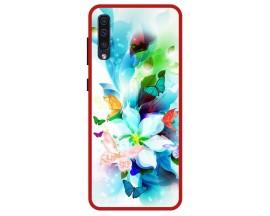 Husa Premium Spate Upzz Pro Anti Shock Compatibila Cu Samsung Galaxy A50, Model Painted Butterflies, Rama Rosie