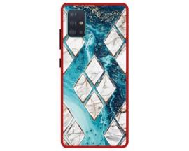 Husa Premium Spate Upzz Pro Anti Shock Compatibila Cu Samsung Galaxy A51, Model Marble 1, Rama Rosie